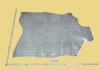 Design-Leder floral, siber/weiß, 0,50-0,51 m², Ziegenleder