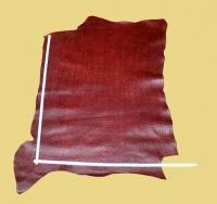 Rindleder-Halsstück Straußenoptik, weinrot