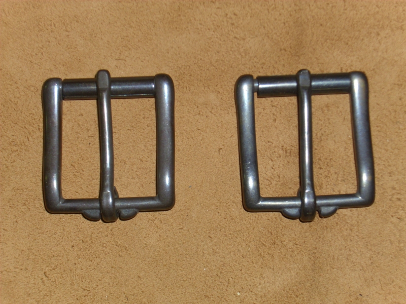 Gürtelschnalle, 40 mm, massiv Edelstahl, gebläut, Rollschnalle, Gürtelschließe