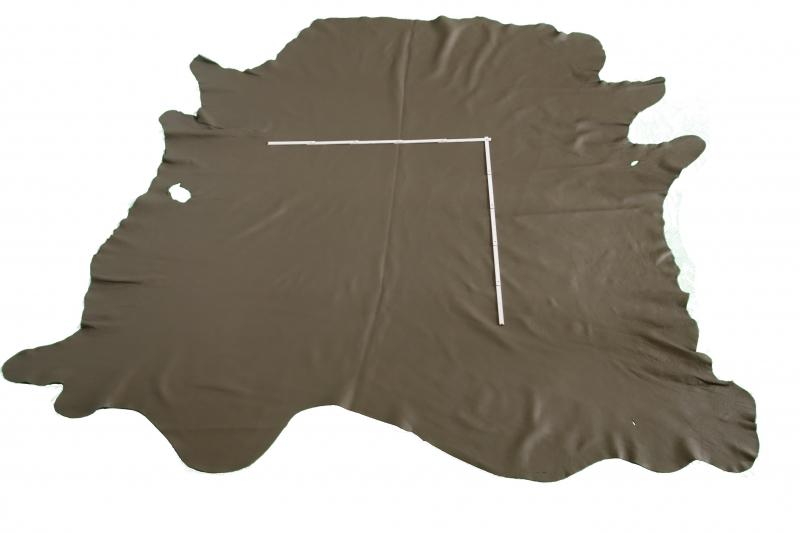 Rindlederhaut 5,45 m², olivgrün, 2,0 - 2,1 mm (GN 037) Polsterleder