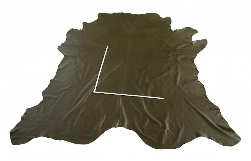 Rindlederhaut 6,33 m², gelboliv, 1,6 mm (GN 039) Polsterleder