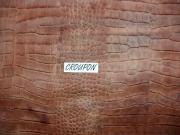 Rindleder mit Krokodilprägung, rotbraun changierend, 1,25 m², kopfgedeckt, Täschnerleder