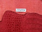 Rindleder mit Krokodilprägung, rot, Täschnerleder