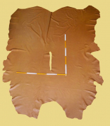 Anilin-Rindlederhaut 6,16 und 6,70 m², Cognac, 1,2-1,3 mm (BR 328) Polsterleder
