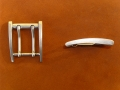Gürtelschnalle, 45 mm, Doppeldornschnalle, antiknickel
